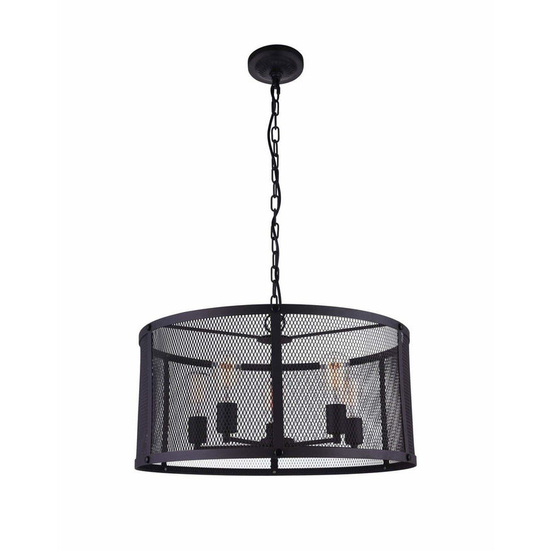 CWI Lighting Pendants Reddish Black Heale 6 Light Drum Shade Pendant with Reddish Black finish by CWI Lighting 9937P24-6-219