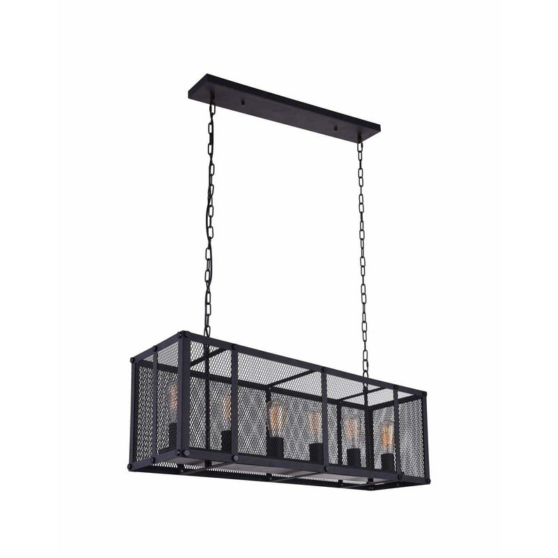 CWI Lighting Island Lighting Reddish Black Heale 6 Light Island Chandelier with Reddish Black finish by CWI Lighting 9937P35-6-219