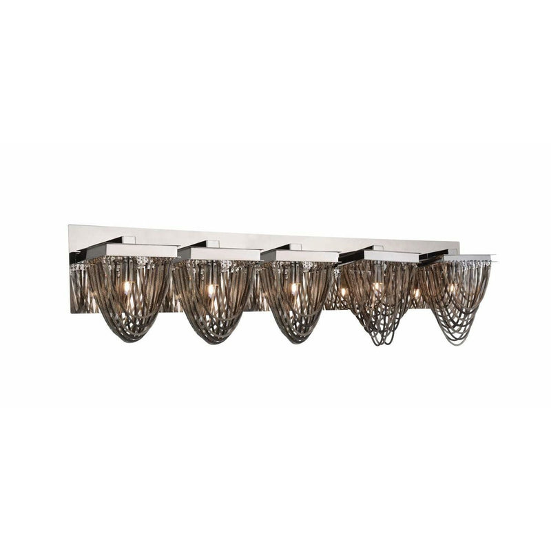 CWI Lighting Bathroom Lighting Chrome Isla 5 Light Vanity Light with Chrome finish by CWI Lighting 5702W36C-5