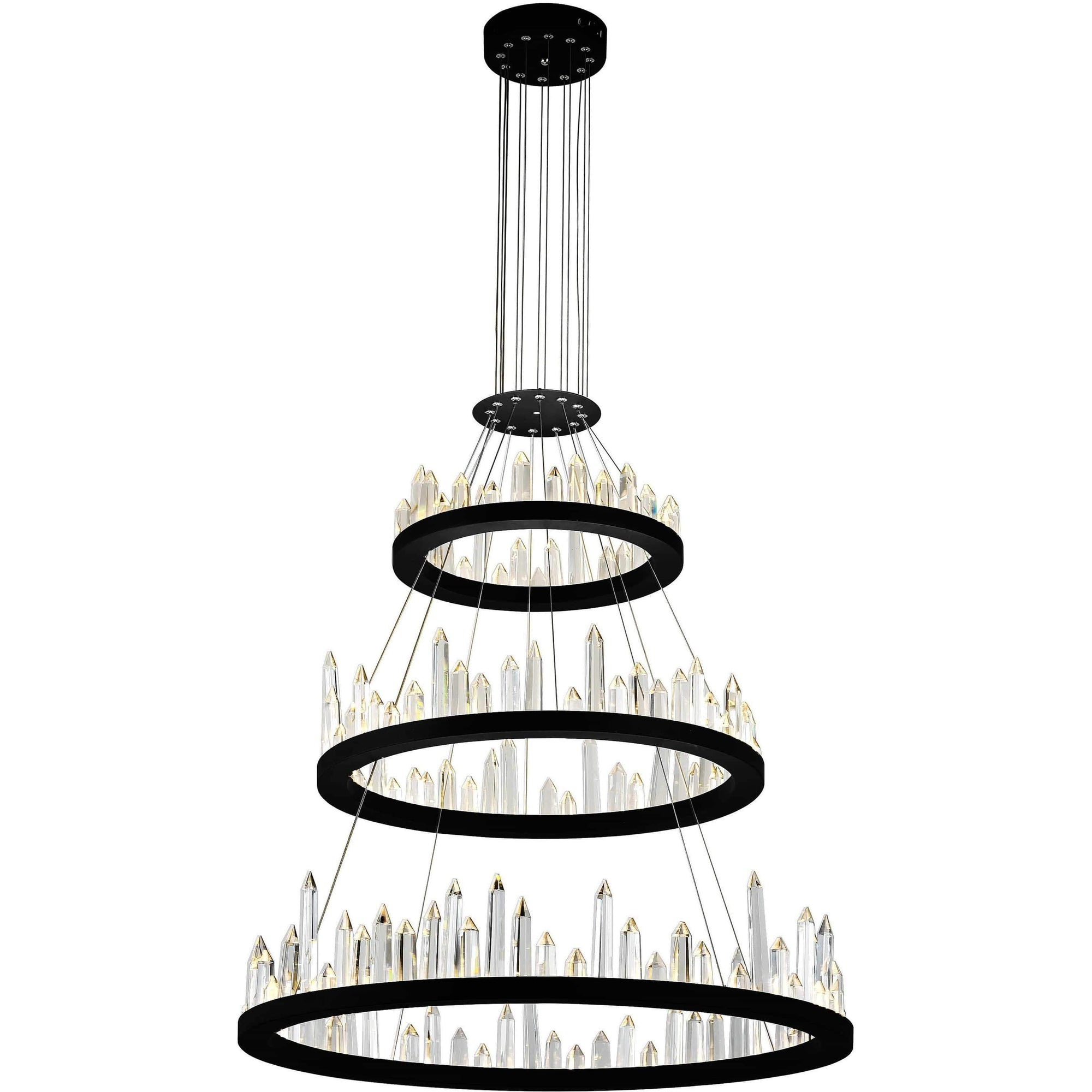 CWI Lighting Chandeliers Black / K9 Clear Juliette LED Chandelier with Black Finish by CWI Lighting 1043P32-3-101