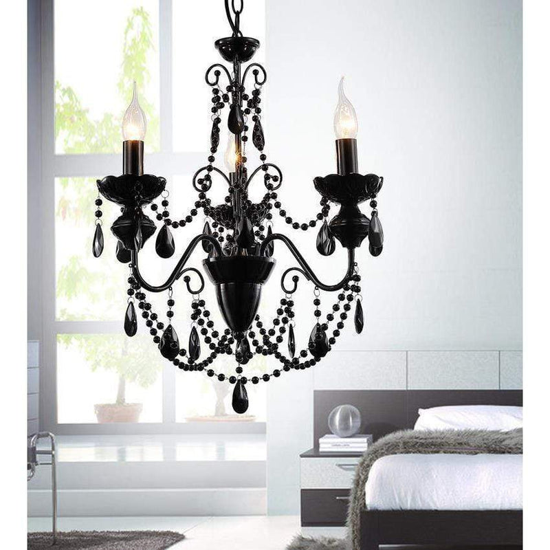 CWI Lighting Chandeliers Black / K9 Black Keen 3 Light Up Chandelier with Black finish by CWI Lighting 5095P16B-3