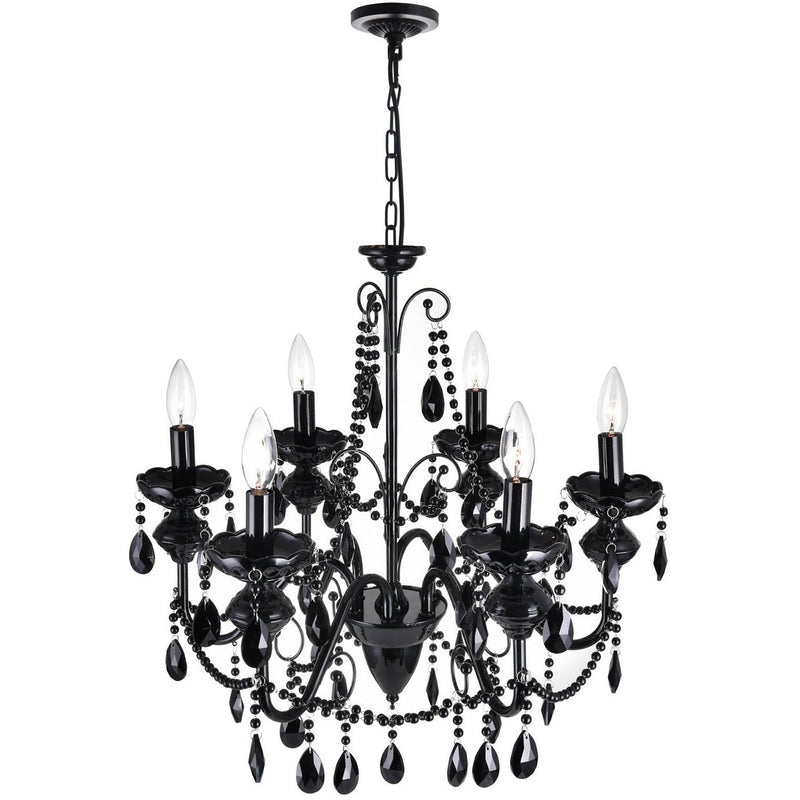 CWI Lighting Chandeliers Black / K9 Black Keen 6 Light Up Chandelier with Black finish by CWI Lighting 5095P22B-6