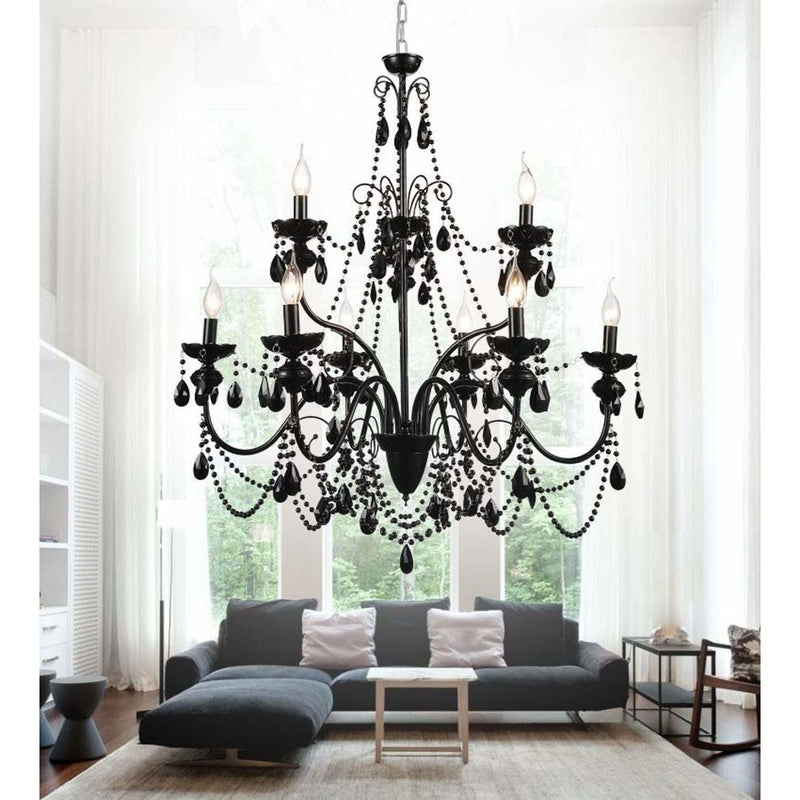 CWI Lighting Chandeliers Black / K9 Black Keen 9 Light Up Chandelier with Black finish by CWI Lighting 5095P32B-9