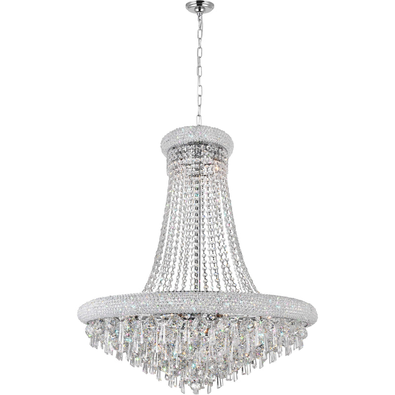 CWI Lighting Chandeliers Chrome / K9 Clear Kingdom 18 Light Down Chandelier with Chrome finish by CWI Lighting 8040P30C
