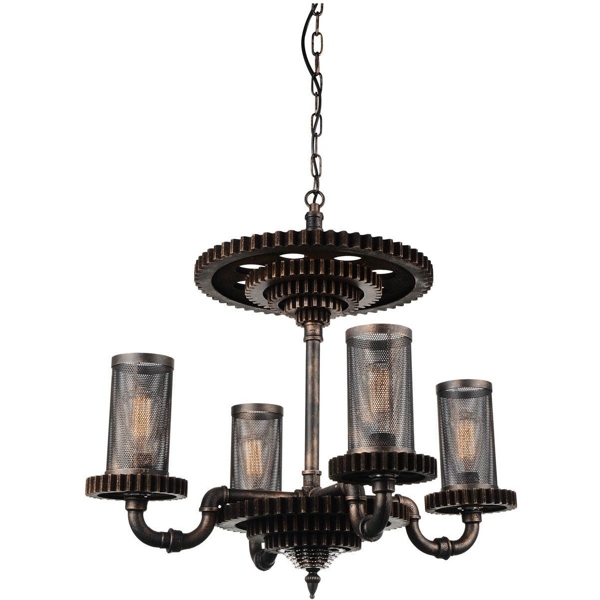 CWI Lighting Chandeliers Rust Manchi 4 Light Up Chandelier with Rust finish by CWI Lighting 9720P30-4-211
