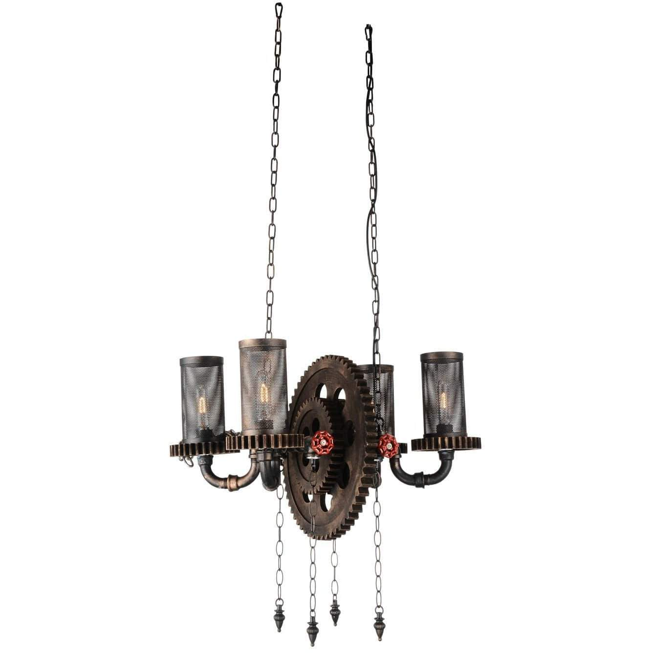 CWI Lighting Chandeliers Rust Manchi 4 Light Up Chandelier with Rust finish by CWI Lighting 9722P25-4-211