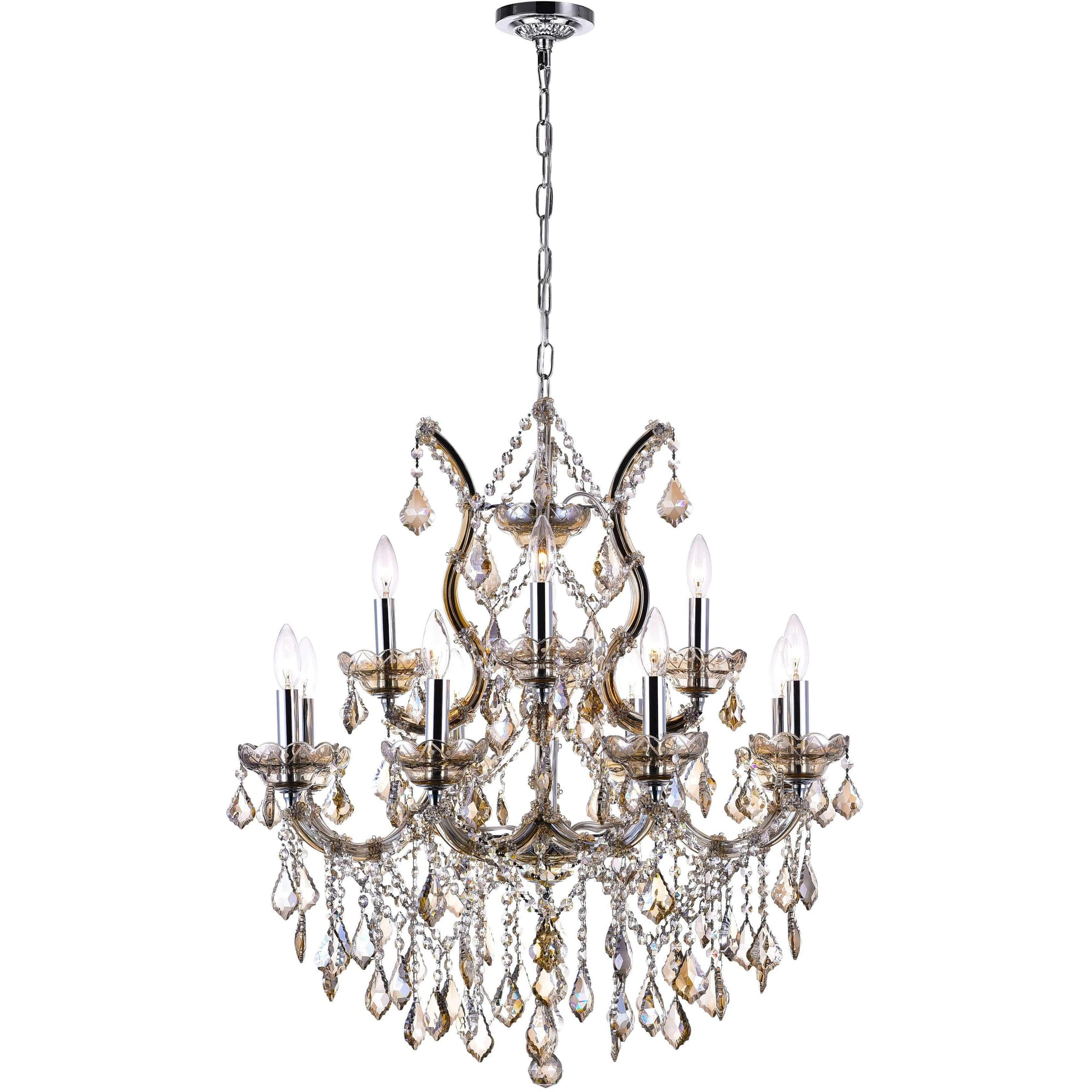 CWI Lighting Chandeliers Chrome / K9 Cognac Maria Theresa 13 Light Up Chandelier with Chrome finish by CWI Lighting 8311P30C-13 (Cognac)
