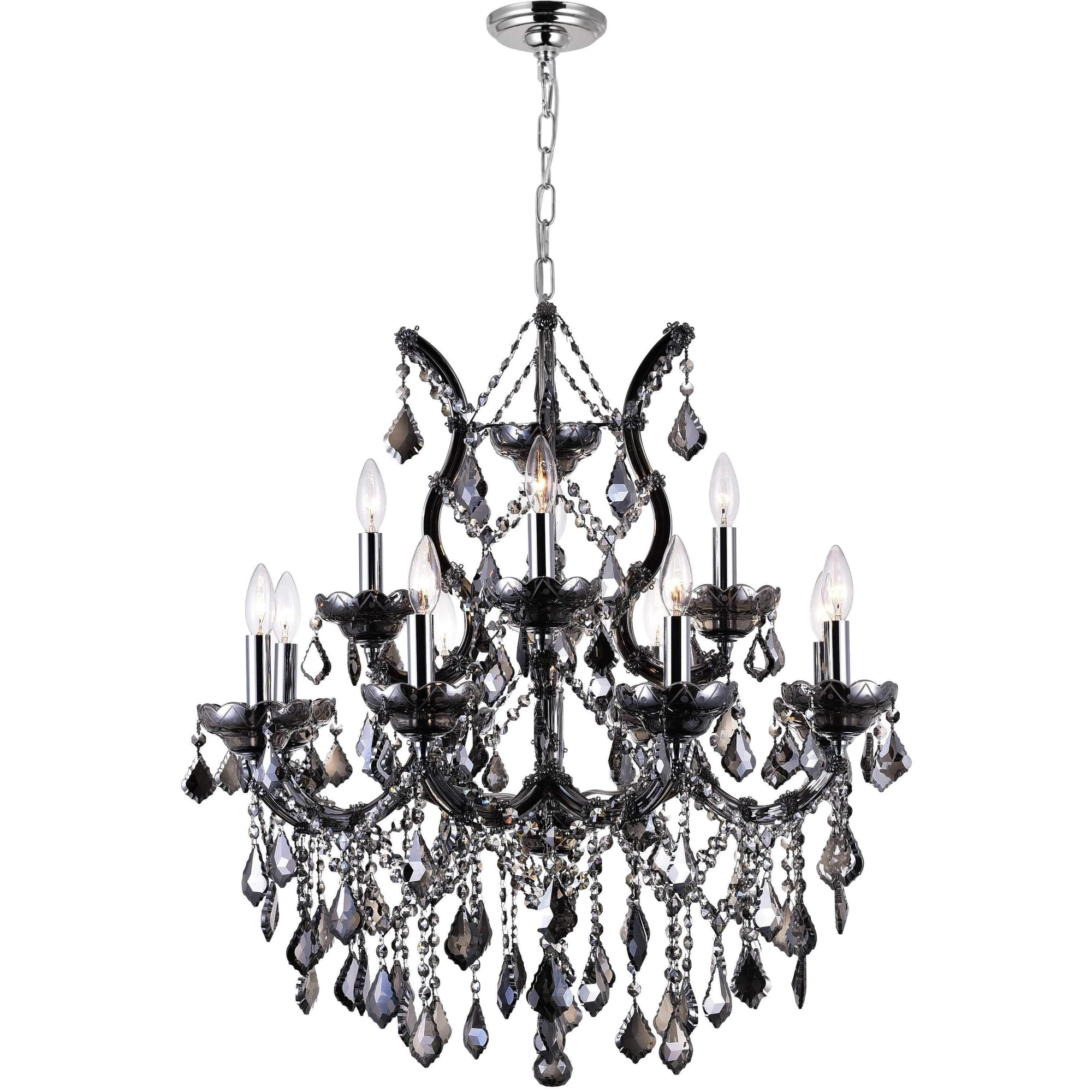 CWI Lighting Chandeliers Chrome / K9 Smoke Maria Theresa 13 Light Up Chandelier with Chrome finish by CWI Lighting 8311P30C-13 (Smoke)
