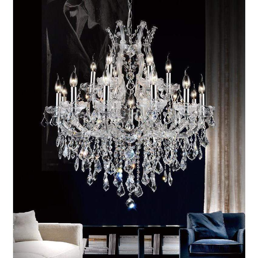 CWI Lighting Chandeliers Chrome / K9 Clear Maria Theresa 19 Light Up Chandelier with Chrome finish by CWI Lighting 8311P32C-19 (Clear)