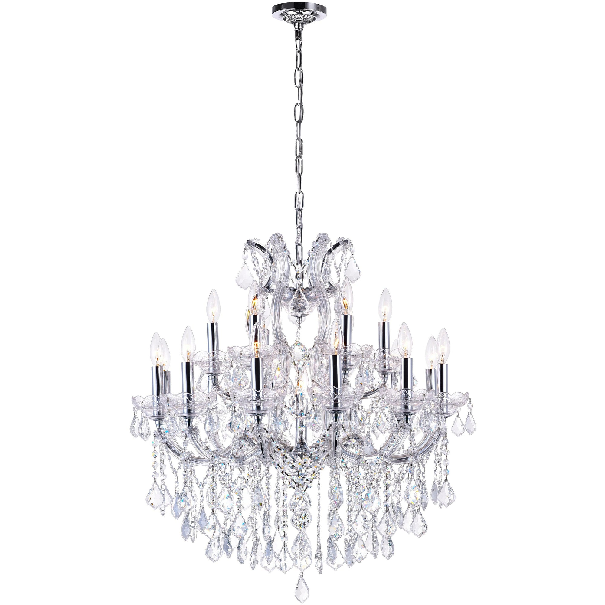 CWI Lighting Chandeliers Chrome / K9 Clear Maria Theresa 19 Light Up Chandelier with Chrome finish by CWI Lighting 8318P30C-19 (Clear)