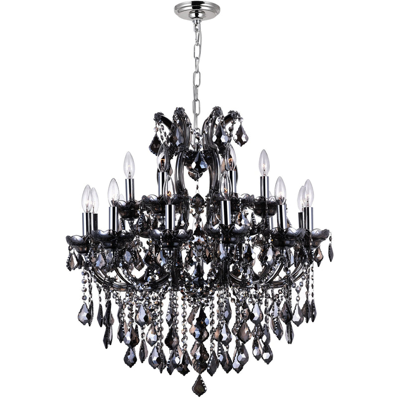 CWI Lighting Chandeliers Chrome / K9 Smoke Maria Theresa 19 Light Up Chandelier with Chrome finish by CWI Lighting 8318P30C-19 (Smoke)
