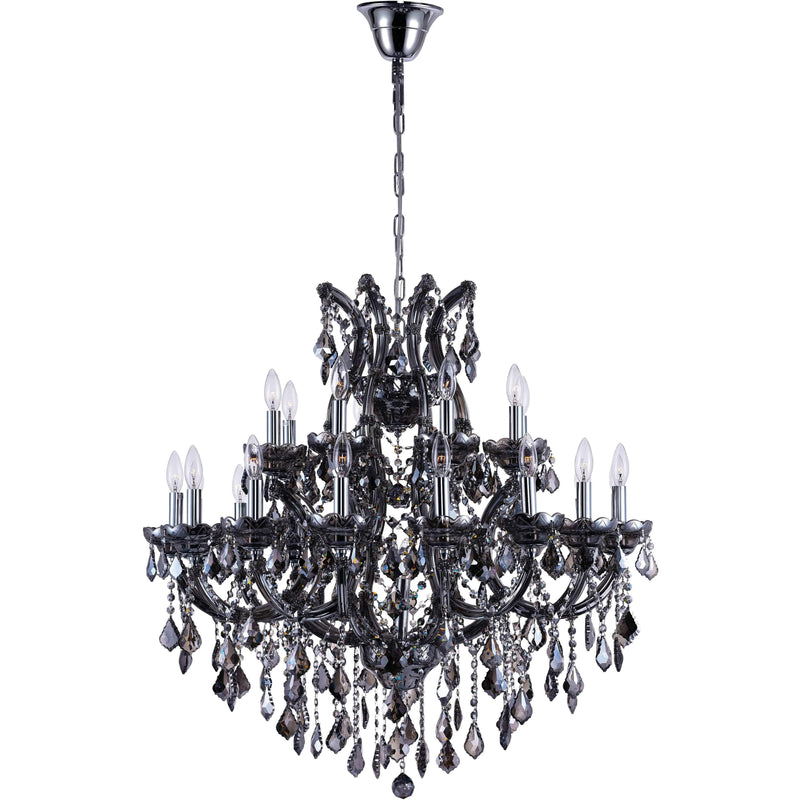 CWI Lighting Chandeliers Chrome / K9 Smoke Maria Theresa 25 Light Up Chandelier with Chrome finish by CWI Lighting 8318P36C-25 (Smoke)