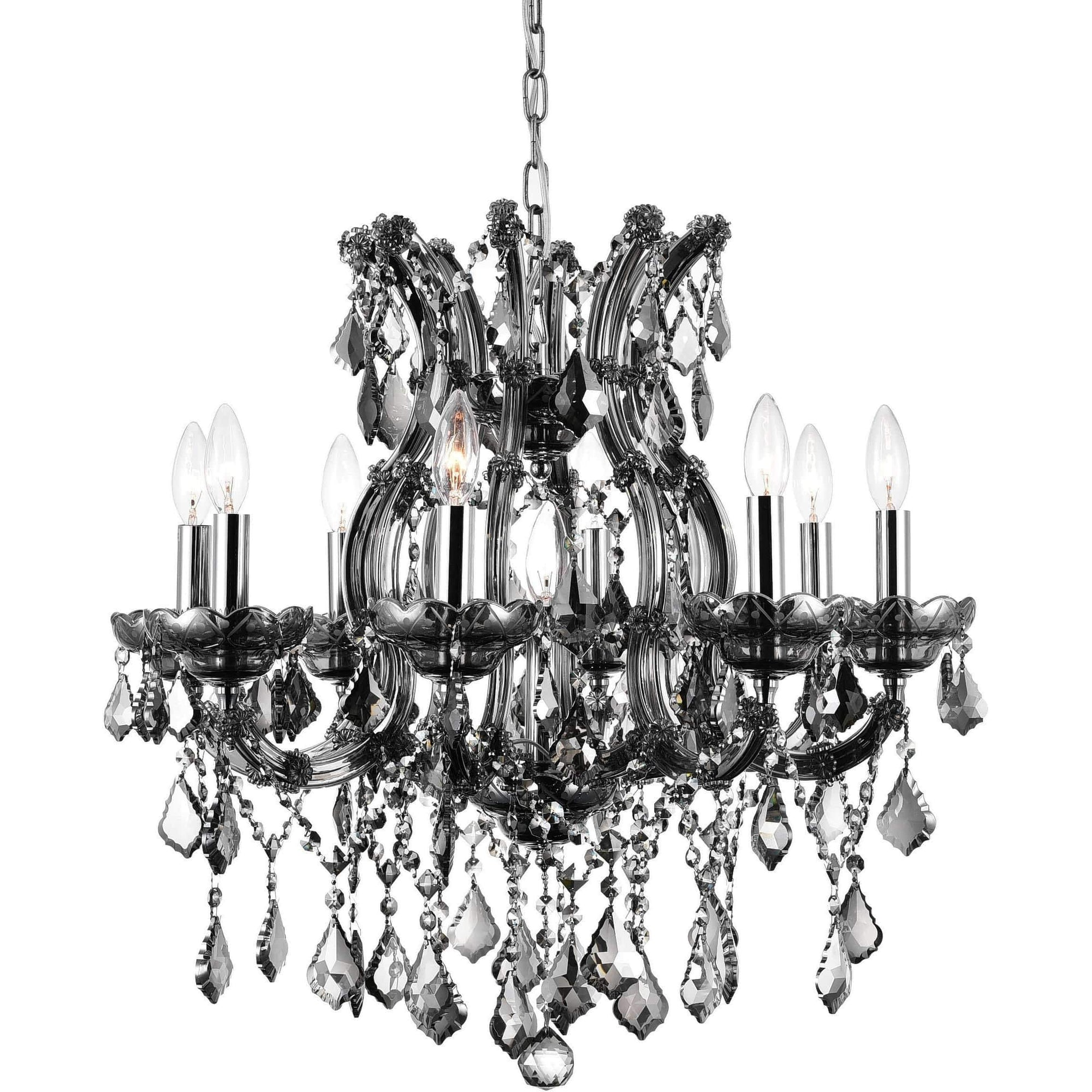 CWI Lighting Chandeliers Chrome / K9 Smoke Maria Theresa 9 Light Up Chandelier with Chrome finish by CWI Lighting 8311P24C-9 (Smoke)