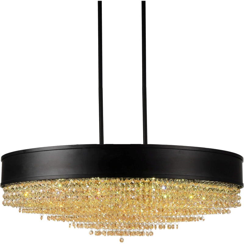 CWI Lighting Chandeliers Black / K9 Clear + Amber Alternating Medina 15 Light Drum Shade Chandelier with Black finish by CWI Lighting 5687P30-22-101