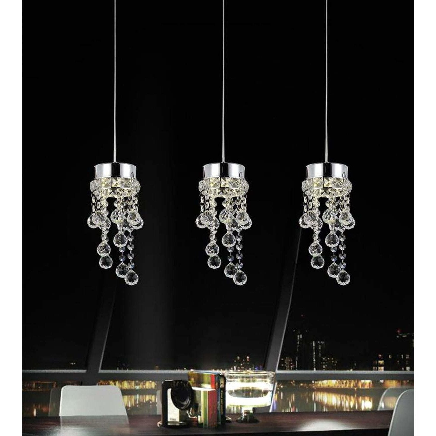 CWI Lighting Pendants Chrome / K9 Clear Monica 3 Light Multi Light Pendant with Chrome finish by CWI Lighting 5072P20C-RC