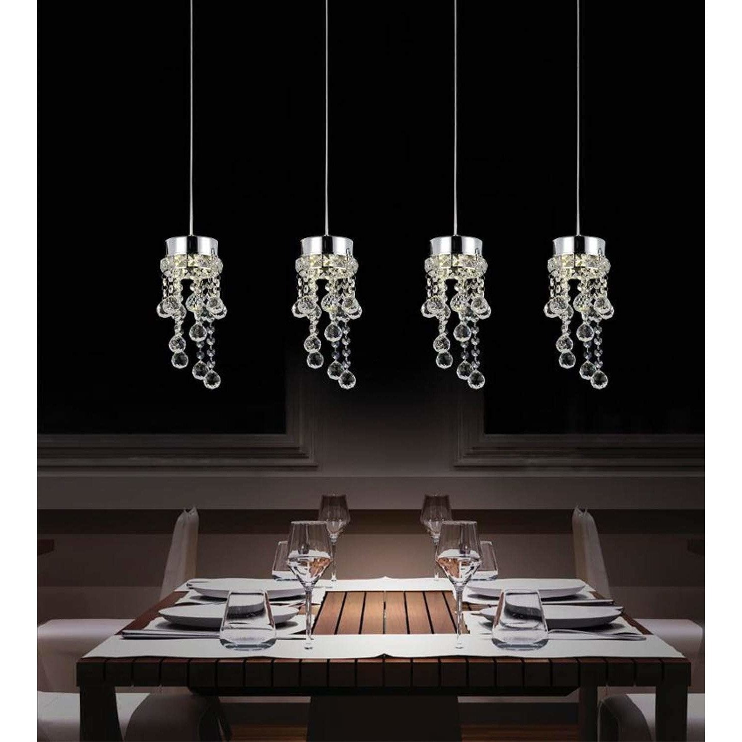 CWI Lighting Pendants Chrome / K9 Clear Monica 4 Light Multi Light Pendant with Chrome finish by CWI Lighting 5072P28C-RC