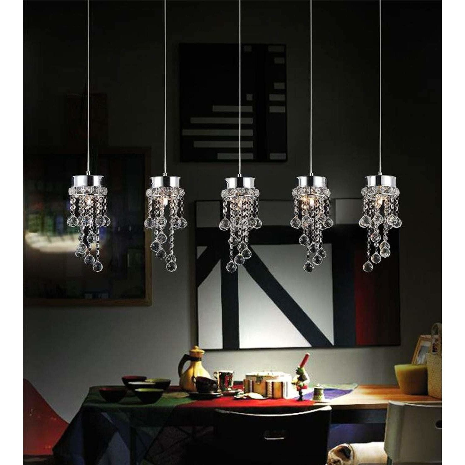 CWI Lighting Pendants Chrome / K9 Clear Monica 5 Light Multi Light Pendant with Chrome finish by CWI Lighting 5072P36C-RC