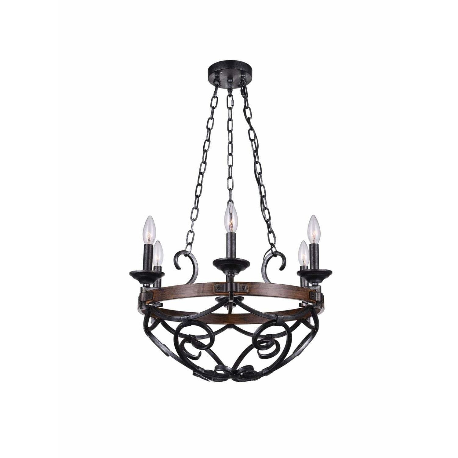 CWI Lighting Chandeliers Gun Metal Morden 6 Light Candle Chandelier with Gun Metal finish by CWI Lighting 9940P21-6-243