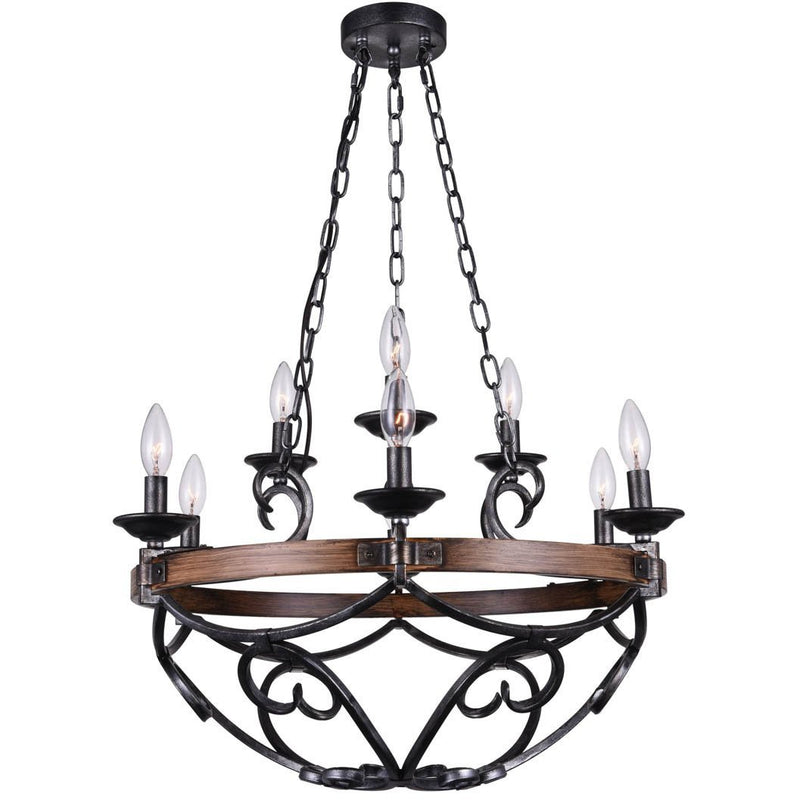 CWI Lighting Chandeliers Gun Metal Morden 9 Light Candle Chandelier with Gun Metal finish by CWI Lighting 9940P25-9-243