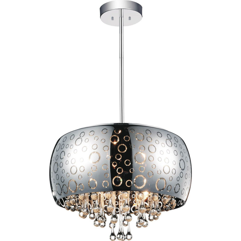 CWI Lighting Chandeliers Chrome / K9 Smoke Movement 6 Light Drum Shade Chandelier with Chrome finish by CWI Lighting 5606P20C-A Smoke