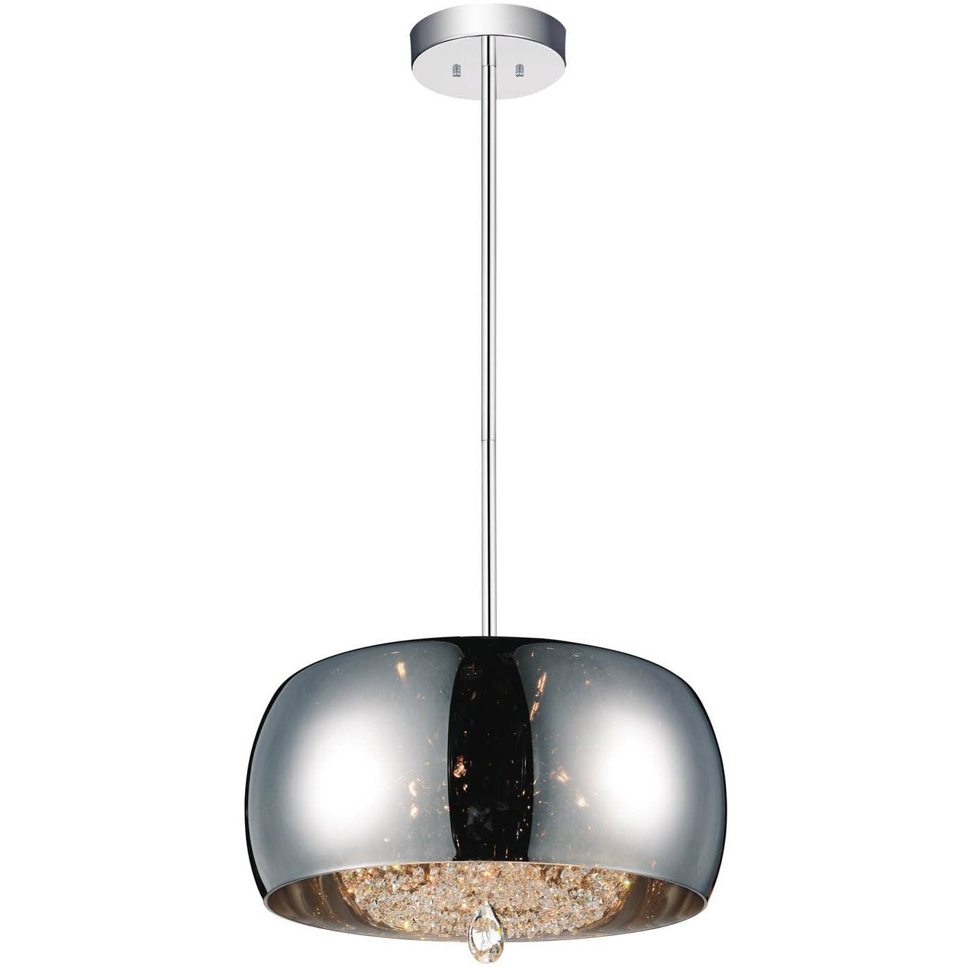 CWI Lighting Chandeliers Chrome Movement 6 Light Drum Shade Chandelier with Chrome finish by CWI Lighting 5608P20C-E (Smoke)