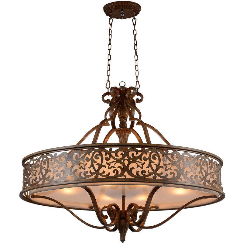Nicole 6 Light Drum Shade Chandelier with Brushed Chocolate finish by CWI Lighting 9807P39-6-116