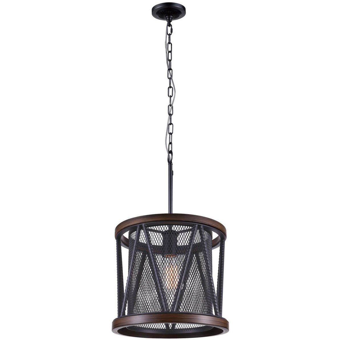 CWI Lighting Mini Chandeliers Pewter Parsh 1 Light Drum Shade Mini Chandelier with Pewter finish by CWI Lighting 9954P13-1-101