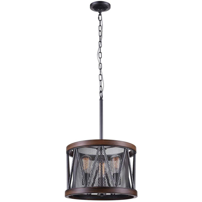 CWI Lighting Chandeliers Pewter Parsh 3 Light Drum Shade Chandelier with Pewter finish by CWI Lighting 9954P16-3-101