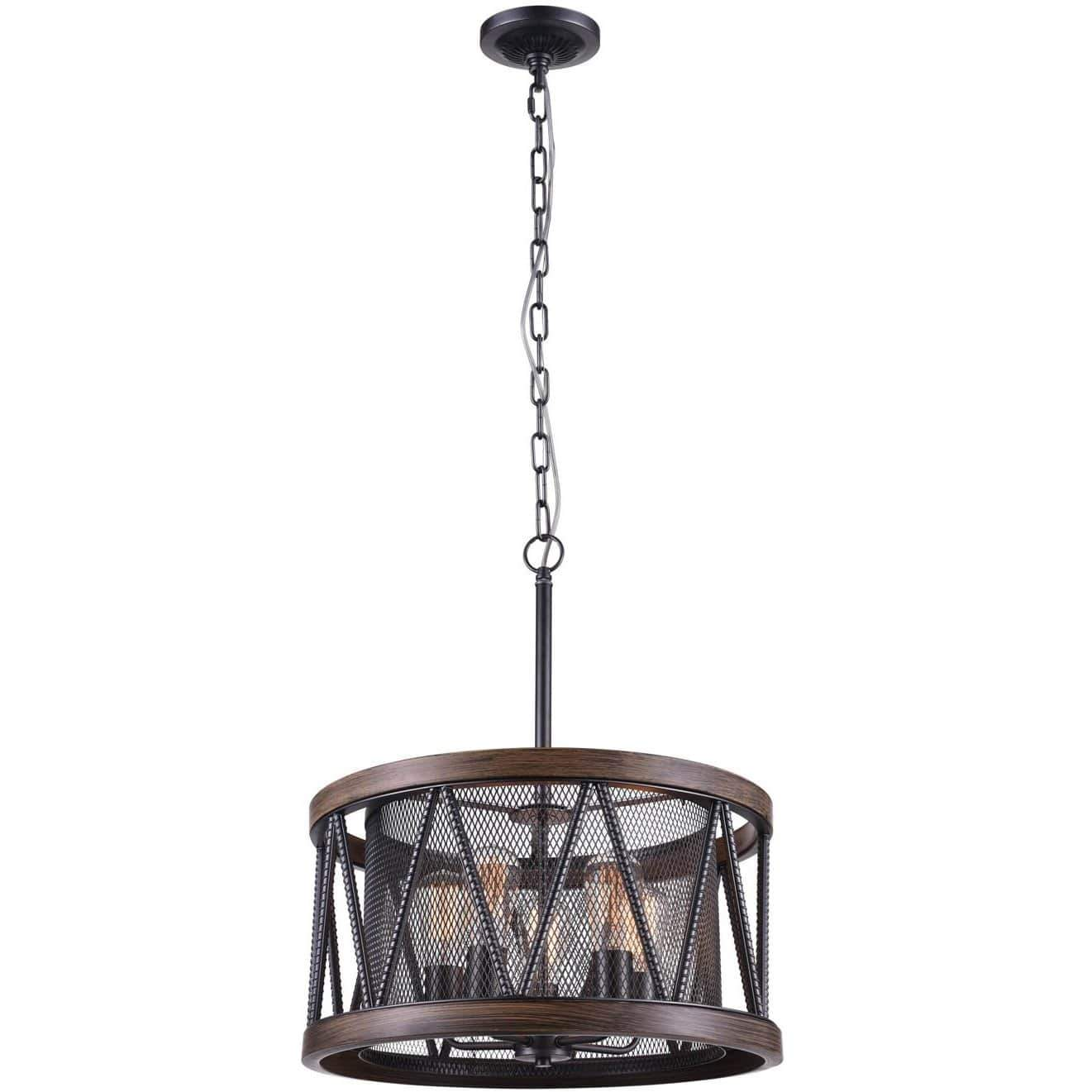 CWI Lighting Chandeliers Pewter Parsh 5 Light Drum Shade Chandelier with Pewter finish by CWI Lighting 9954P20-5-101
