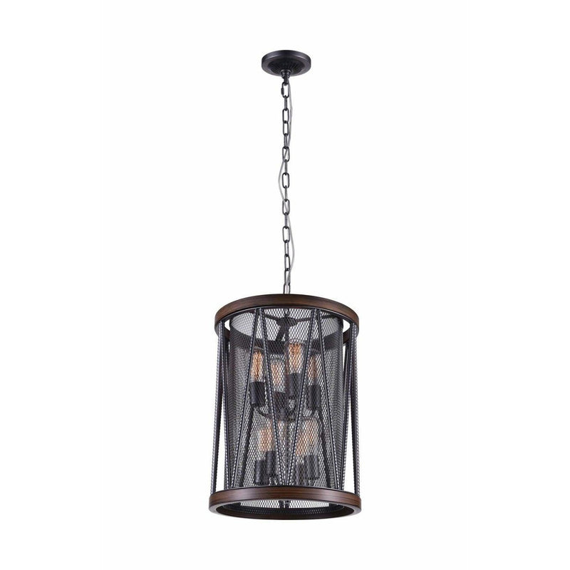 CWI Lighting Chandeliers Pewter Parsh 8 Light Drum Shade Chandelier with Pewter finish by CWI Lighting 9954P16-8-101