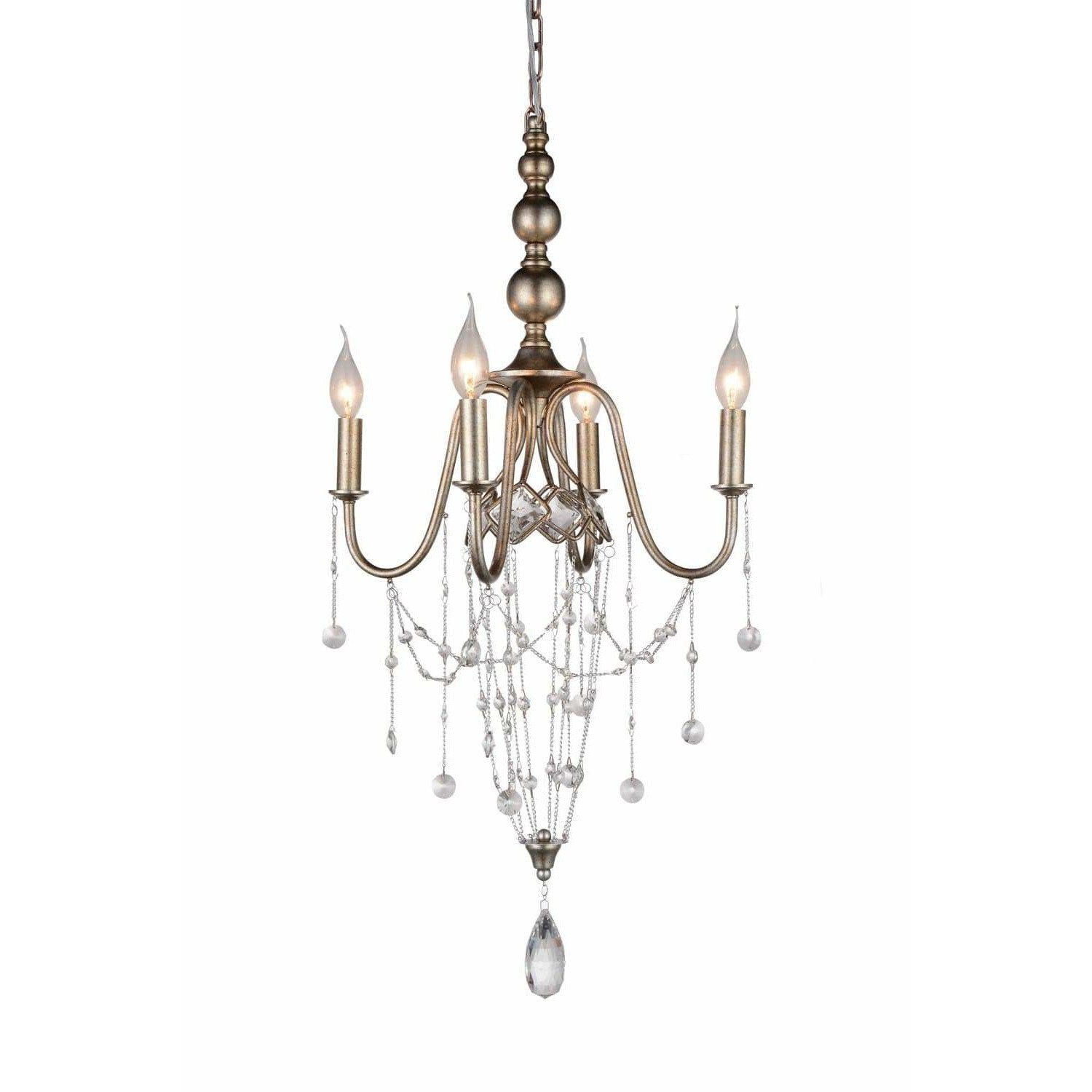 CWI Lighting Chandeliers Speckled Nickel / K9 Clear Pembina 4 Light Up Chandelier with Speckled Nickel finish by CWI Lighting 9840P17-4-161