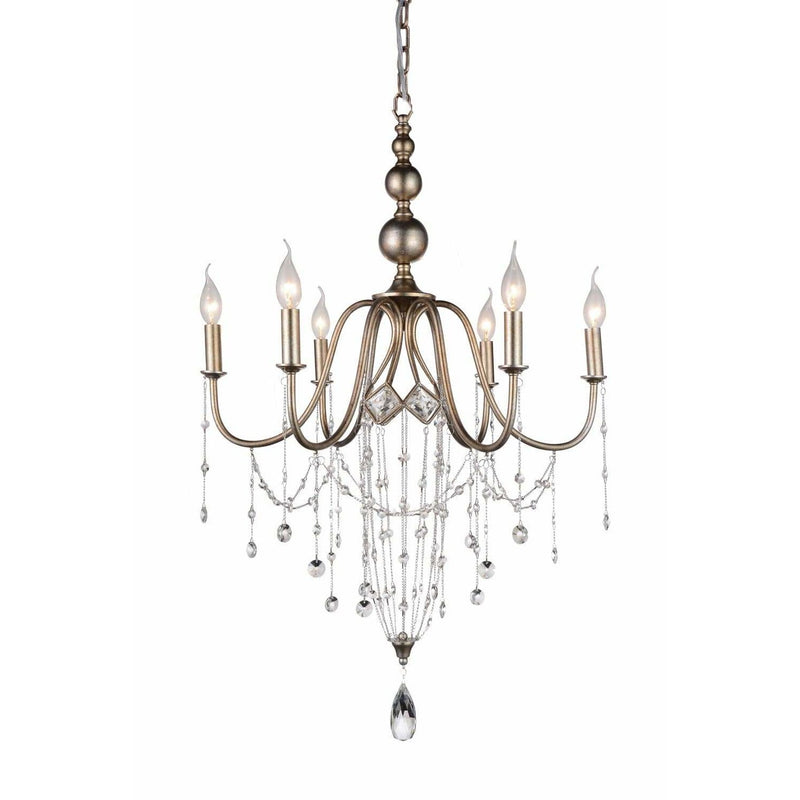 CWI Lighting Chandeliers Speckled Nickel / K9 Clear Pembina 6 Light Up Chandelier with Speckled Nickel finish by CWI Lighting 9840P25-6-161