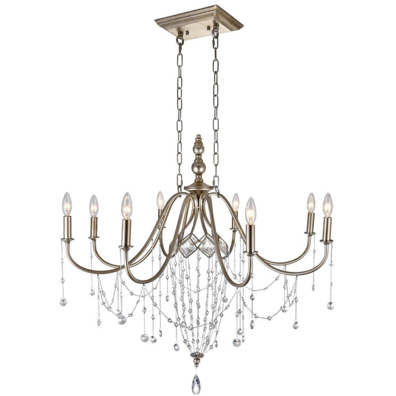 CWI Lighting Chandeliers Speckled Nickel / K9 Clear Pembina 8 Light Up Chandelier with Speckled Nickel finish by CWI Lighting 9840P36-8-161