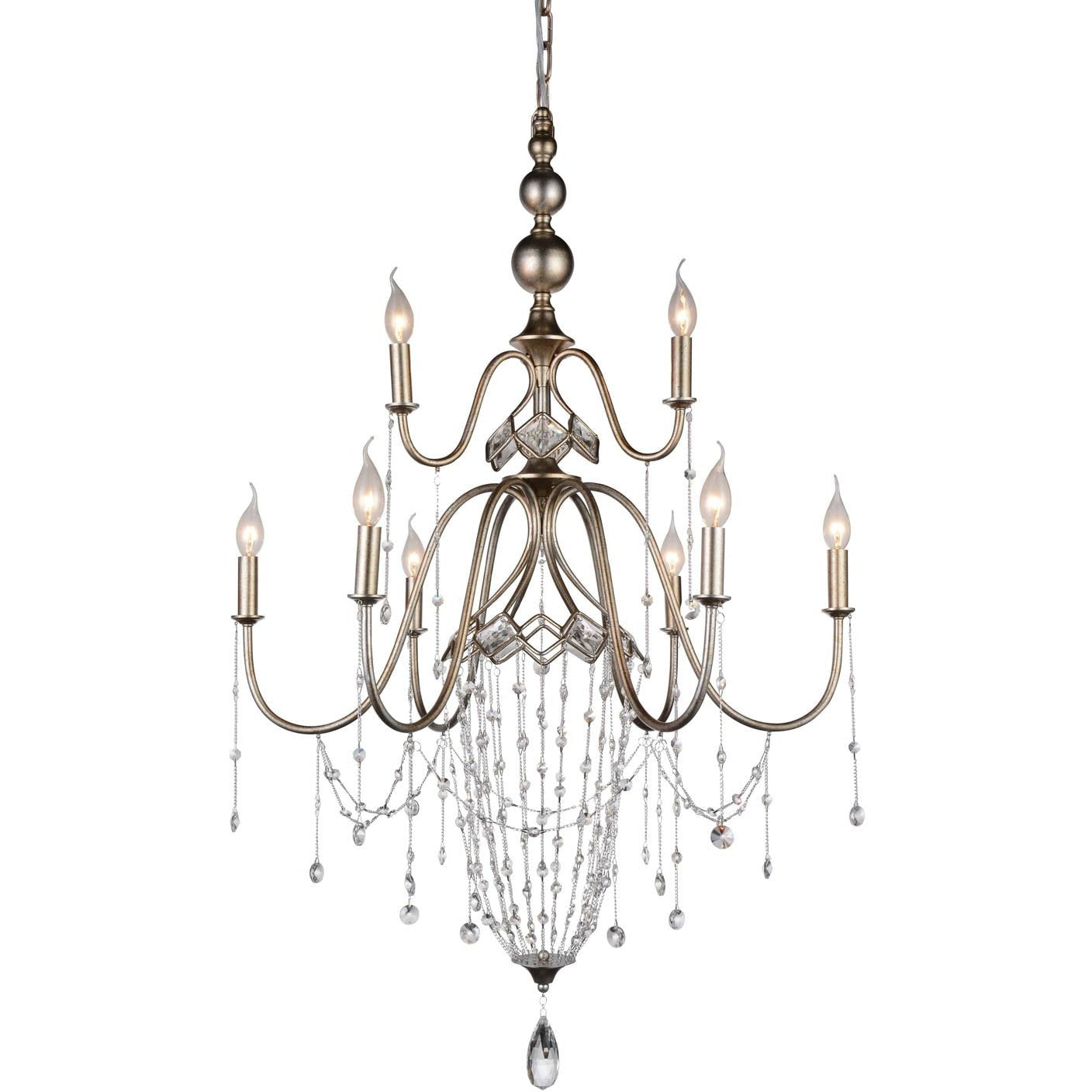 CWI Lighting Chandeliers Speckled Nickel / K9 Clear Pembina 9 Light Up Chandelier with Speckled Nickel finish by CWI Lighting 9840P31-9-161