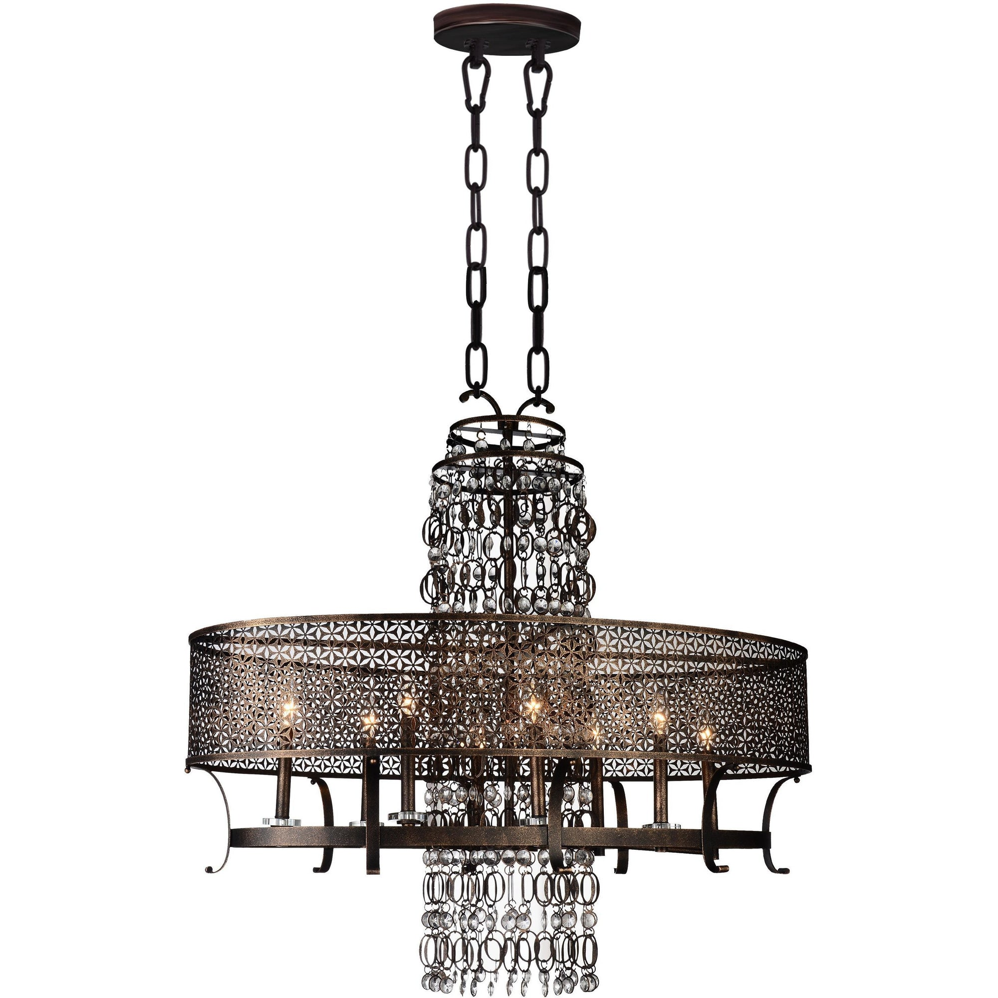CWI Lighting Chandeliers Golden Bronze / K9 Clear Pollett 8 Light Up Chandelier with Golden Bronze finish by CWI Lighting 9901P42-8-185
