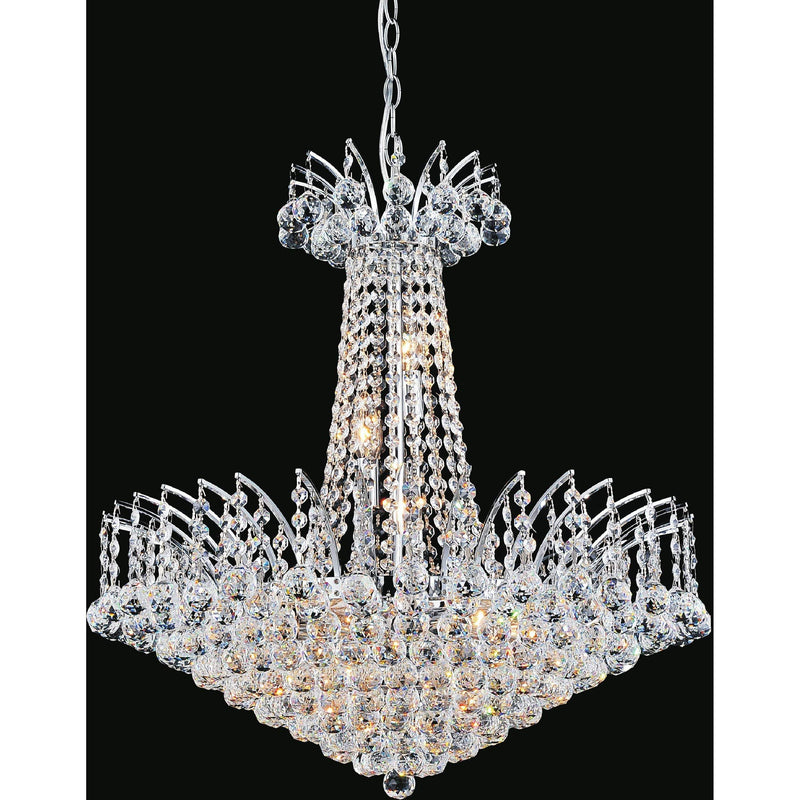CWI Lighting Chandeliers Chrome / K9 Clear Posh 11 Light Down Chandelier with Chrome finish by CWI Lighting 8010P24C