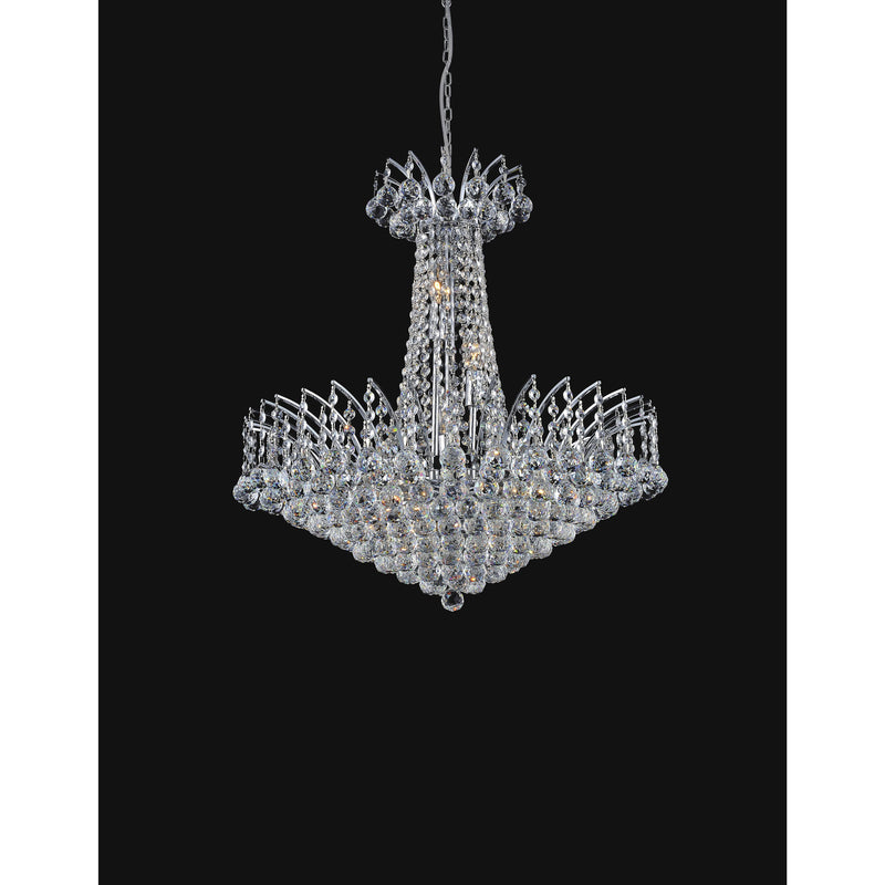 CWI Lighting Chandeliers Chrome / K9 Clear Posh 22 Light Down Chandelier with Chrome finish by CWI Lighting 8010P30C