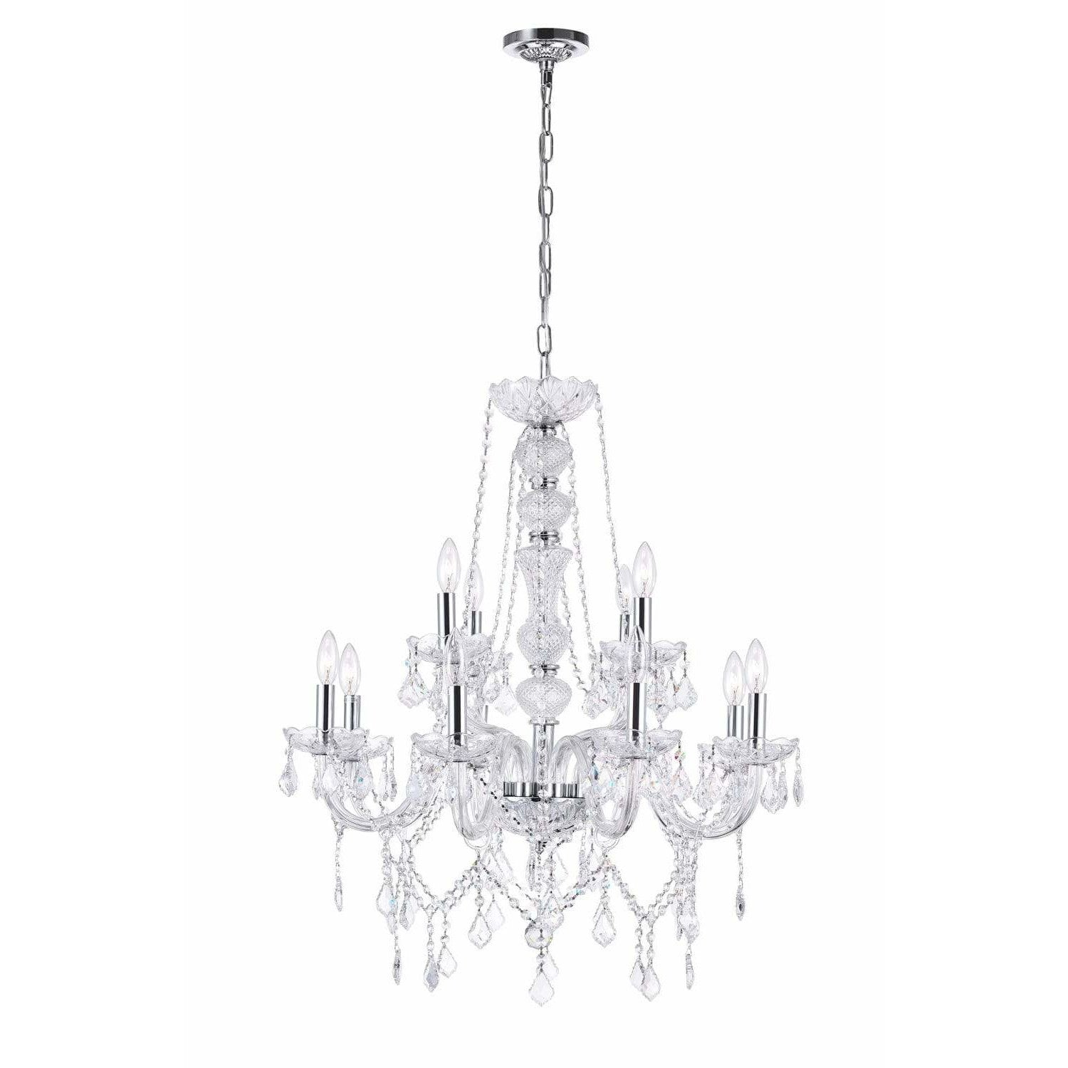 CWI Lighting Chandeliers Chrome / K9 Clear Princeton 12 Light Down Chandelier with Chrome finish by CWI Lighting 8023P30C