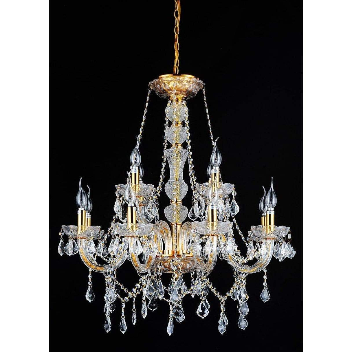 CWI Lighting Chandeliers Gold / K9 Clear Princeton 12 Light Down Chandelier with Gold finish by CWI Lighting 8023P30G