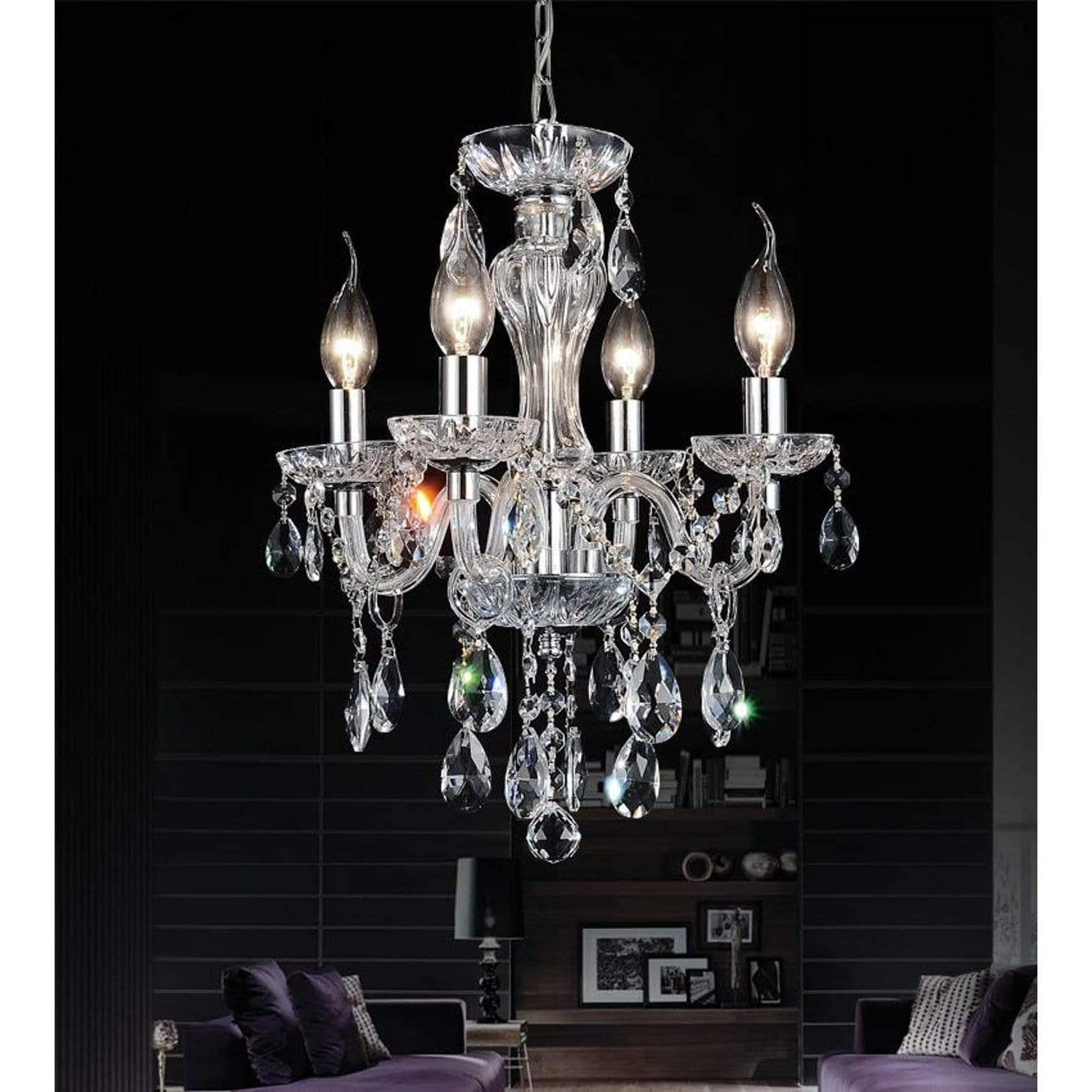 CWI Lighting Chandeliers Chrome / K9 Clear Princeton 4 Light Up Chandelier with Chrome finish by CWI Lighting 8273P14C-4 (clear)