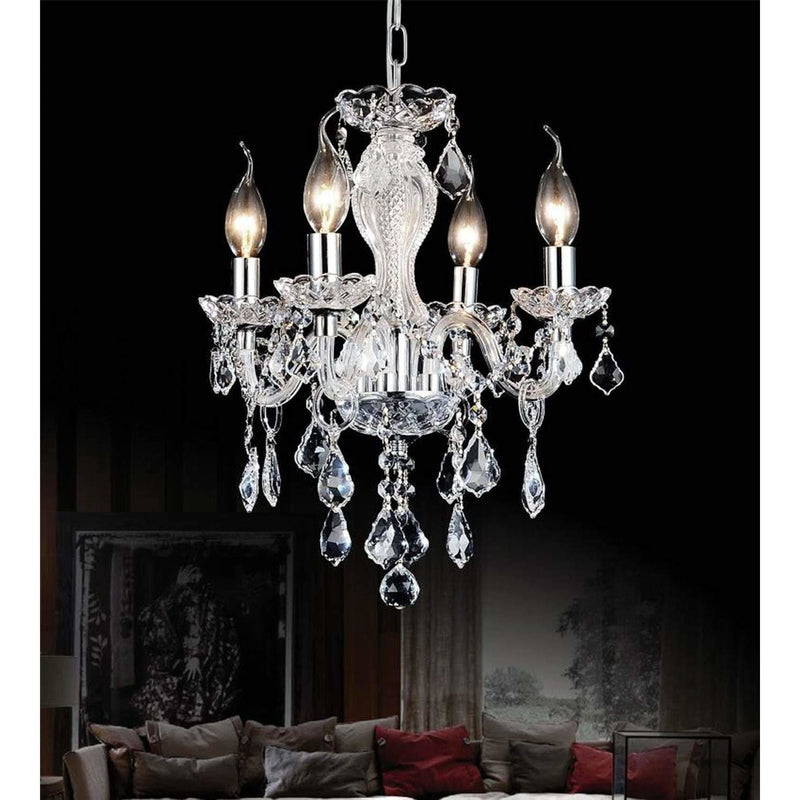 CWI Lighting Chandeliers Chrome / K9 Clear Princeton 4 Light Up Chandelier with Chrome finish by CWI Lighting 8275P14C-4 (Clear)