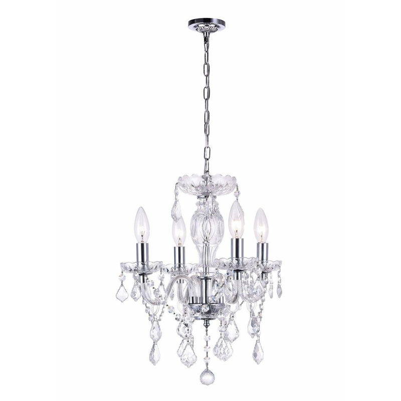 CWI Lighting Chandeliers Chrome / K9 Clear Princeton 4 Light Up Chandelier with Chrome finish by CWI Lighting 8276P14C-4 (Clear)