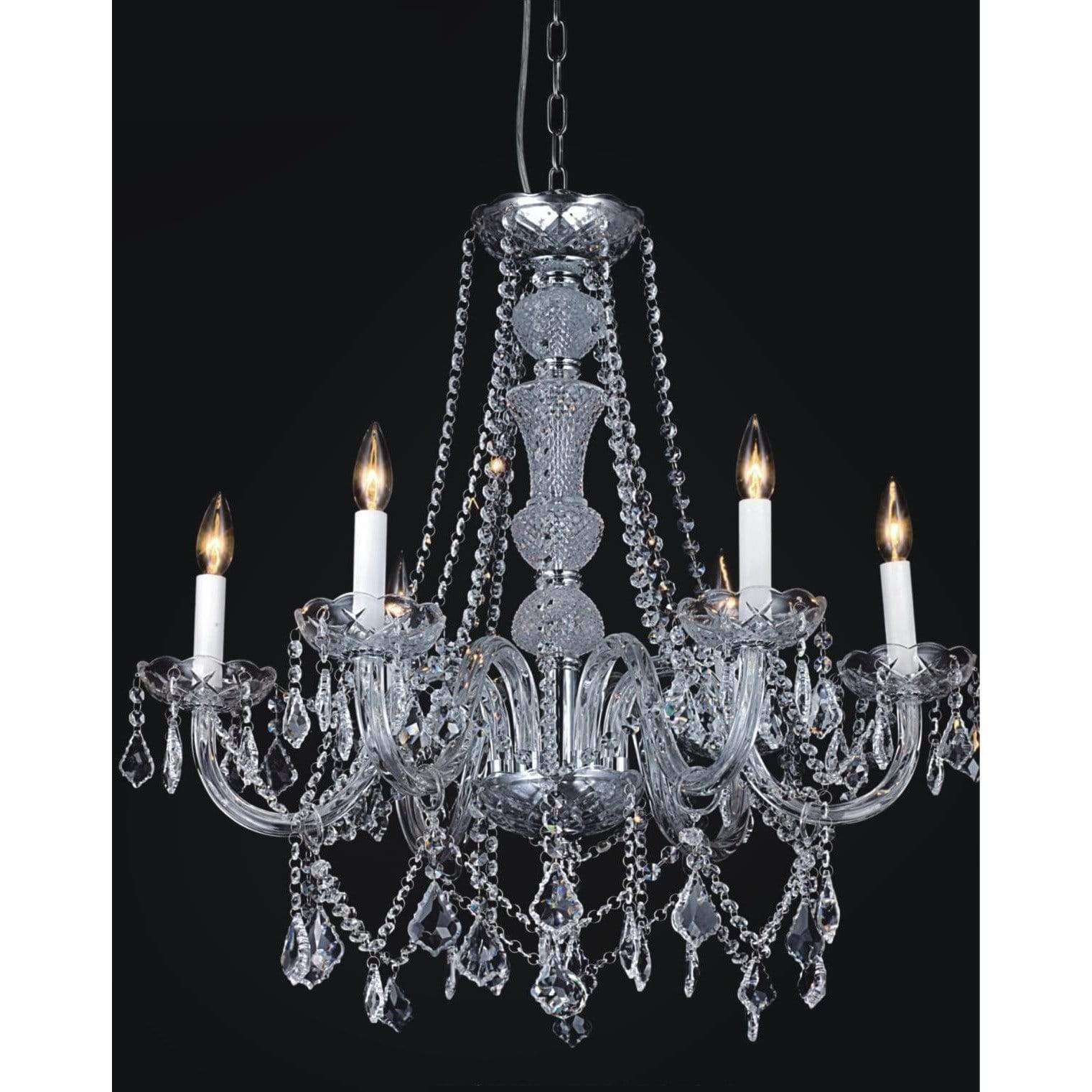 CWI Lighting Chandeliers Chrome / K9 Clear Princeton 6 Light Down Chandelier with Chrome finish by CWI Lighting 8023P24C-6