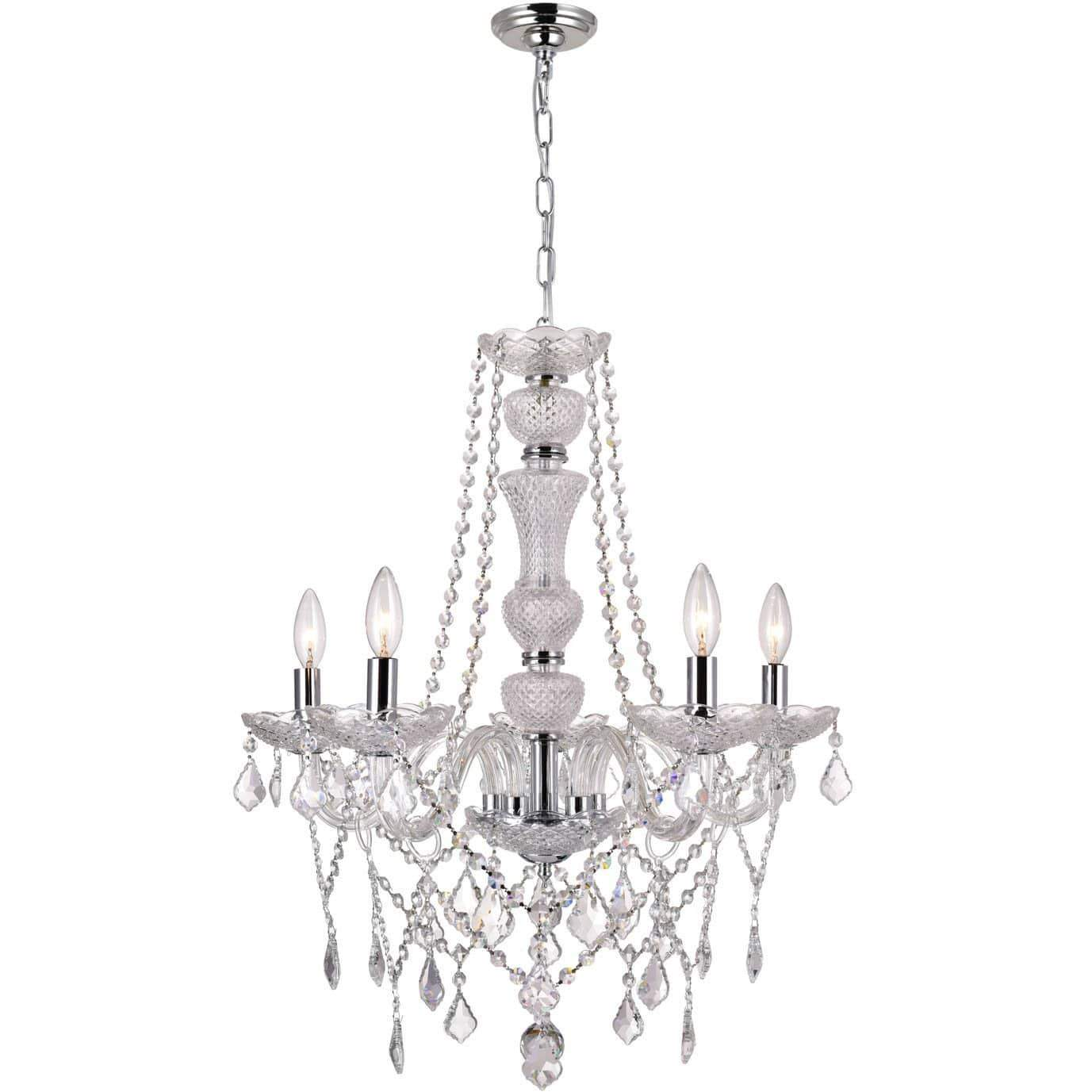 CWI Lighting Chandeliers Chrome / K9 Clear Princeton 6 Light Up Chandelier with Chrome finish by CWI Lighting 8268P22C-6-A
