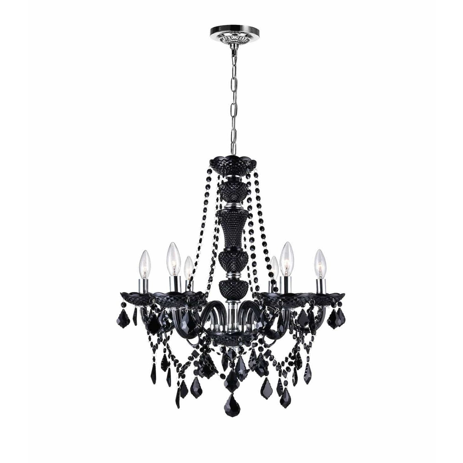 CWI Lighting Chandeliers Chrome / K9 Clear Princeton 6 Light Up Chandelier with Chrome finish by CWI Lighting 8268P22C-6-B