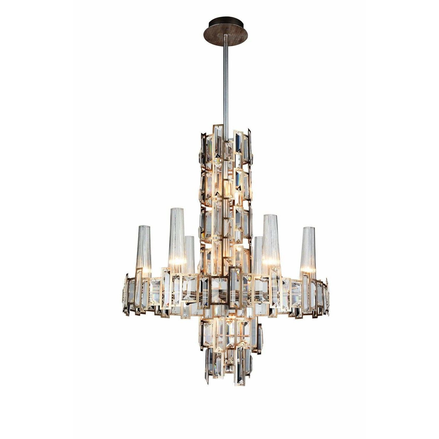CWI Lighting Chandeliers Champagne / K9 Clear Quida 12 Light Down Chandelier with Champagne finish by CWI Lighting 9903P24-12-193