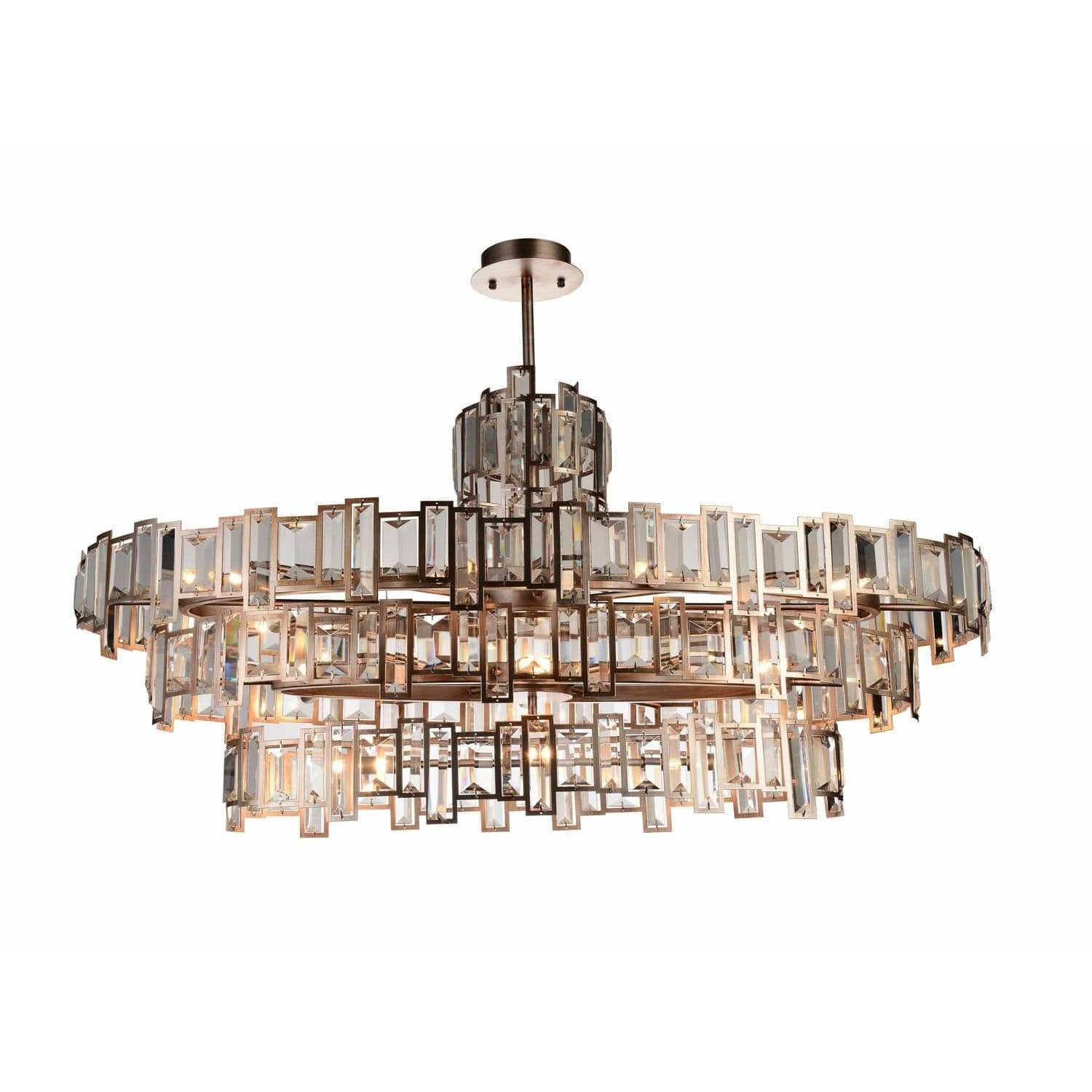 CWI Lighting Chandeliers Champagne / K9 Clear Quida 21 Light Down Chandelier with Champagne finish by CWI Lighting 9903P44-21-193