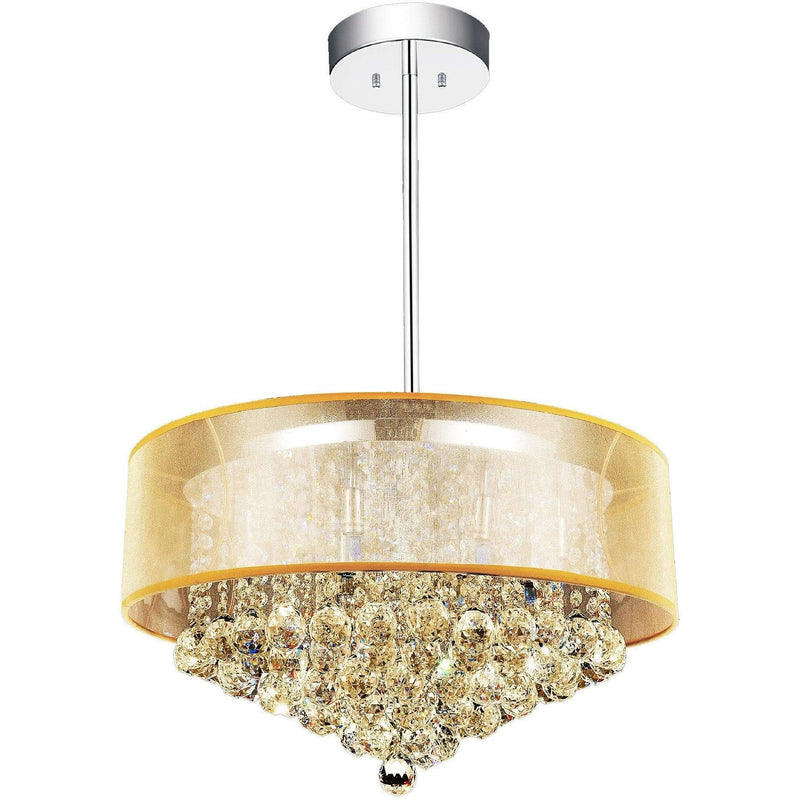 CWI Lighting Chandeliers Chrome / K9 Champagne Radiant 12 Light Drum Shade Chandelier with Chrome finish by CWI Lighting 5062P24C (Chp + G)