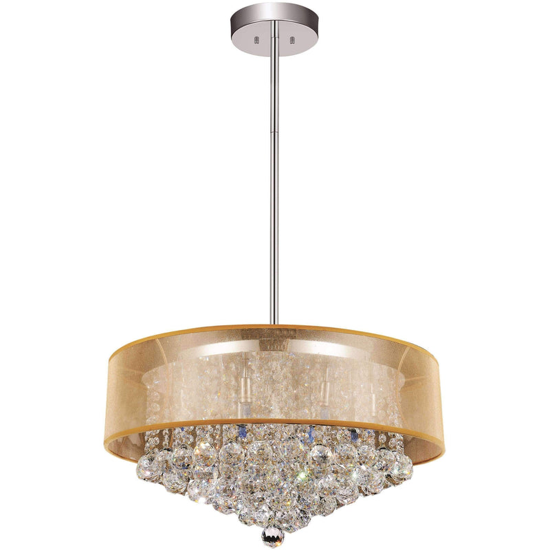 CWI Lighting Chandeliers Chrome / K9 Clear Radiant 12 Light Drum Shade Chandelier with Chrome finish by CWI Lighting 5062P24C (Clear + G)