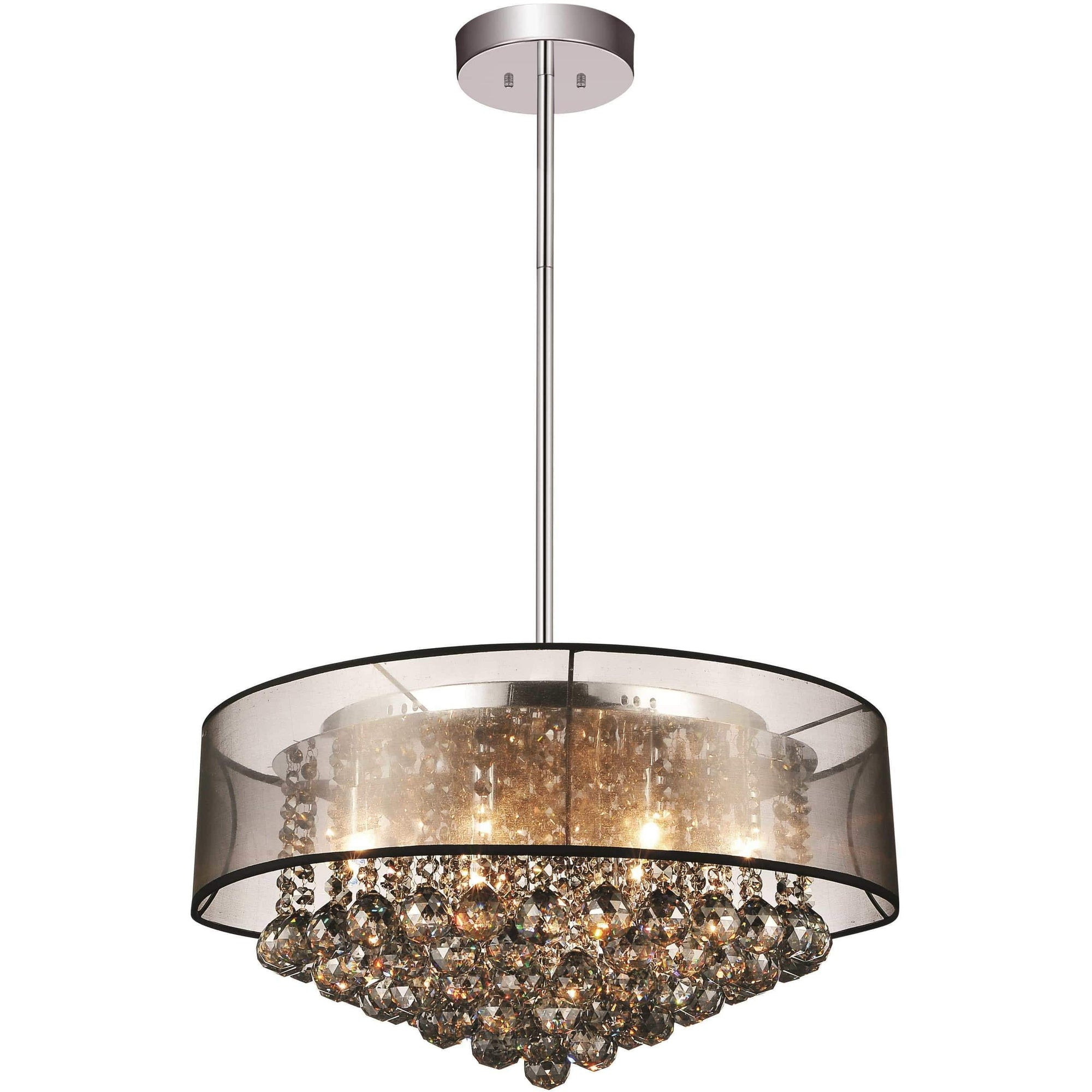 CWI Lighting Chandeliers Chrome / K9 Smoke Radiant 12 Light Drum Shade Chandelier with Chrome finish by CWI Lighting 5062P24C (Smoke + B)